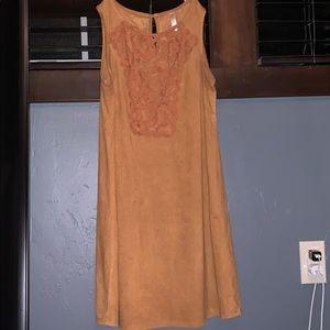 suede lace detail dress